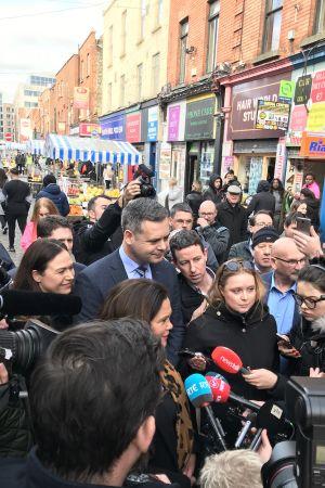 Mary Loud McDonald träffade press och väljare i Dublin på torsdag.