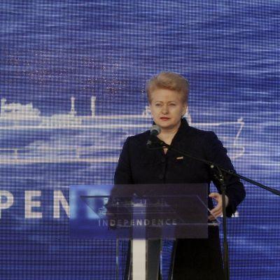 Dalia Grybauskaite håller ett tal.