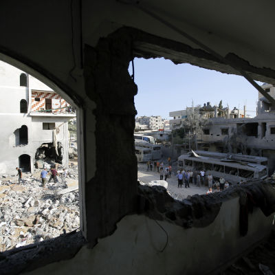 Förstörelse efter en israelisk flygräd den 19 augusti 2014.