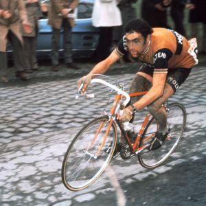 """En av tidernas största cyklister, Eddy Merckx, bilden tagen under tävlingen 1972. Merckx hade smeknamnet """"The Cannibal"""" eftersom han tuggade sönder allt motstånd."""