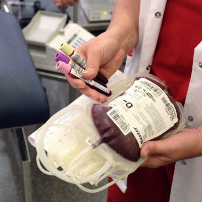 Blodpåse som använts vid blodgivning.