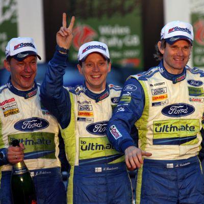 Timo Rautiainen ja Marcus Grönholm ovat tottuneet menestymään yhdessä. Kuva vuodelta 2007.