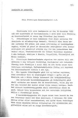 Amos Andersons första instruktioner till Konstsamfundet, sid. 1