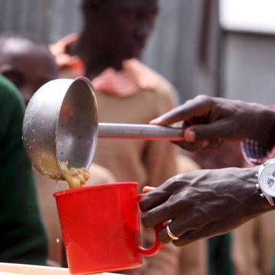 Matportioner delas ut av Världslivsmedelsprogrammet i Kenya.