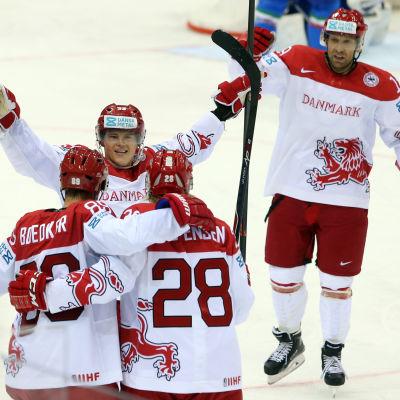 Danmark vann Italien under ishockey-VM 2014 med 4-1.