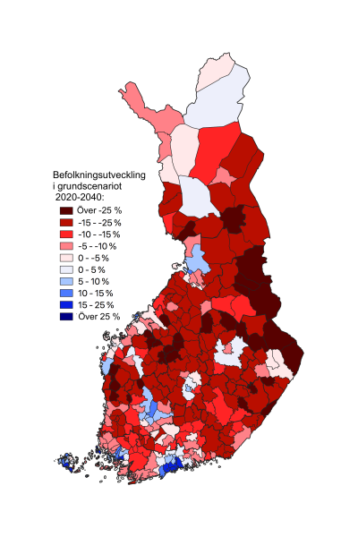 karta över Finland indelat i kommuner