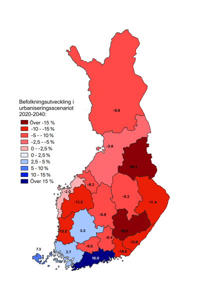 karta över Finland indelat i landskap