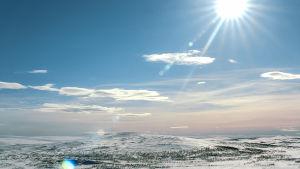 Länsi-Lapin jylhiä maisemia talvella.
