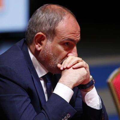 Armeniens premiärminister Nikol Pasjinian under ett möte i Minsk, Belarus den 17 juli.