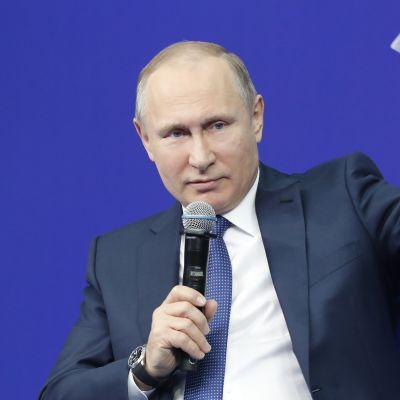 Venäjän presidentti Vladimir Putin kampanjoi Moskovassa tiistaina.