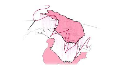 Suomi, jonka läpi on ommeltu punainen lanka.