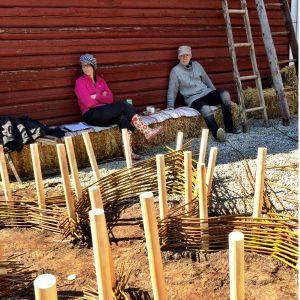 Monica Storm och Esa Saari pausar i skuggan, medan videflätning av örtagård pågår