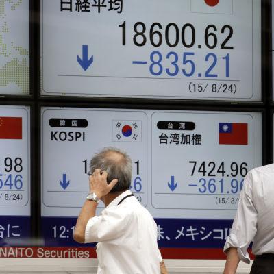 På börsen i Tokyo.