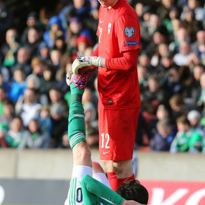 Lukas Hradecky i EM-kvalmatchen mot Nordirland.