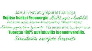 Vihreän sähkön mainoslauseita.