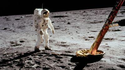 Buzz Aldrin på månen.
