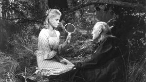 Bibi Andersson ja Victor Sjöström kesäisessä metsässä. Kuva elokuvasta Mansikkapaikka.