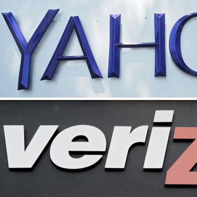 Logotyper för Yahoo och Verizon
