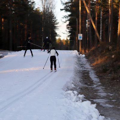 hiihtäjiä ladulla talvella 2020