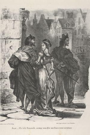 Faust viettelee Mefistofelesin avulla Gretchenin. Eugène Delacroix (1798–1863), 1825–27