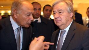 Arabförbundets generalsekreterare Ahmed Abdoul Gheit och FN:s generalsekreterare Antonio Guterres träffades i Egypten.