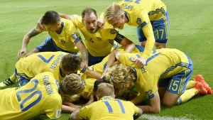 Svenska spelarna firar Marcus Bergs mål, Sverige-Holland, hösten 2016.