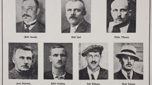 Sex av de som arkebuserades samtidigt i Jakobstad plus Erkki Svalberg som sköts vid ett tidigare tillfälle vintern 1918