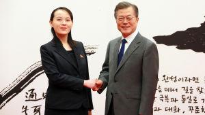 Kim Jong-Un tackar Sydkorea för det varma bemötande som hans yngre syster Kim Yo-Jong fick av Sydkoreas president Moon Jae-In