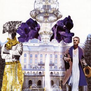 Kuvakollaasi jossa kaksi mielikuvituksellisesti pukeutunutta miestä reunoilla, keskellä palatsi jonka edessä suihkukaivo.