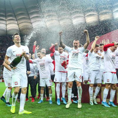 Polska spelare firar avancemang till EM.