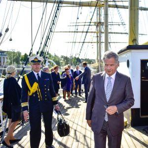 President Sauli Niinistö i Mariehamn den 13 augusti 2019.