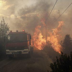 Flammor härjar invid en brandbil i Greklands huvudstad Aten.