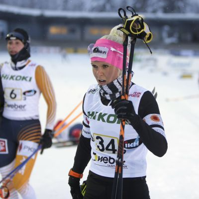 Mari Eder Imatran SM-hiihtojen viestissä.