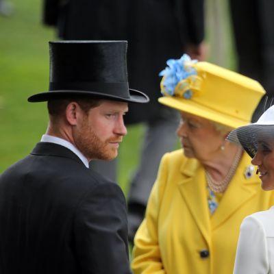 Sussexin herttuapari ja kuningatar Elisabet Ascotissa kesäkuussa 2018.