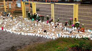 Ljus, kramdjur och blommor invid lekparken i Lyceiparken