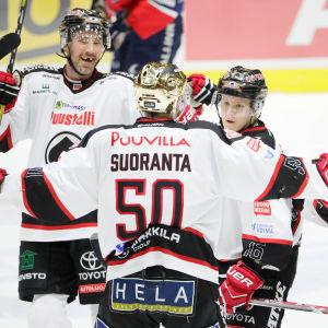 Simon Suoranta firar mål, Ässät, hösten 2016.