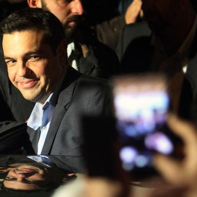 Syrisas partiledare Alexis Tsipras efter valsegern, 25.1.2015