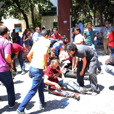 Exploxion i turkiska Suruc den 20 juli 2015.