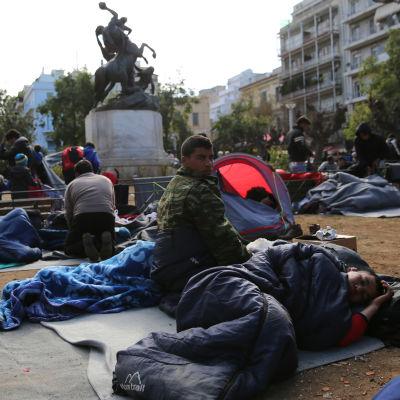 Flyktingar i Aten, Grekland.