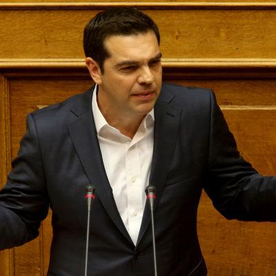 Greklands premiärminister Alexis Tsipras talar till parlamentet på söndagen 22.5.2016