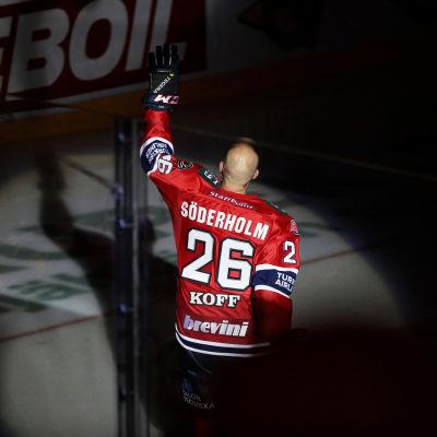 Toni Söderholm hedras, HIFK-JYP, 17.9.2016.