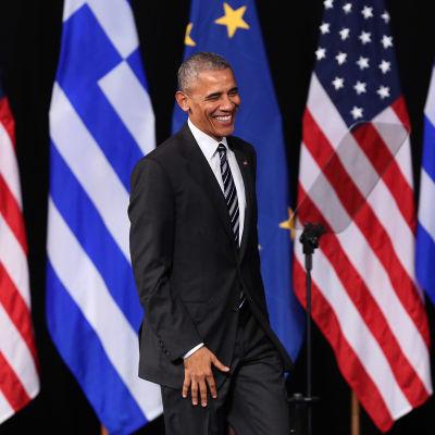 Barack Obama håller sitt sista stora tal utomlands som president.