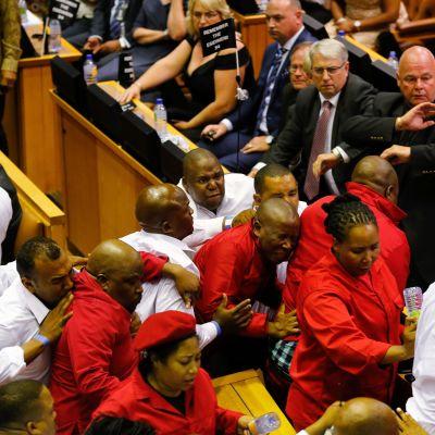 Sammandrabbningar under president Jacob Zumas tal i parlamentet i Sydafrika den 9 februari 2017.