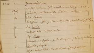 Kielitoimiston neuvontapuhelimen muistiinpanoja vuodelta 1945.