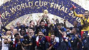 Frankrikes landslag firar VM-guld 2018.