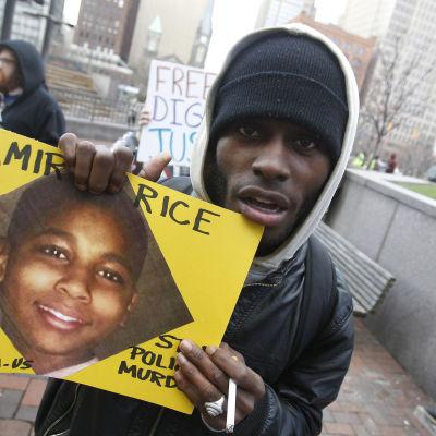 Demonstration på grund av dödandet av den 12-åriga Tamir Rice i Cleveland.