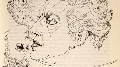 Ranskalaisen kirjailijan ja surrealistin André Bretonin muotokuva; Taiteilija André Massonin piirros.