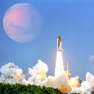 Bildkollage från Nasa med stor måne och raket som skjuts upp till Mars.