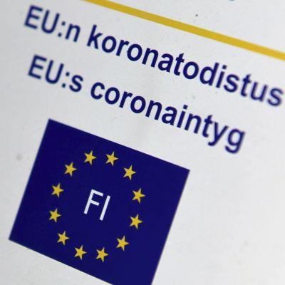 EU:s coronaintyg på Mina Kanta-sidorna.