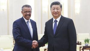 WHO:s generalsekreterare Tedros Adhanom Ghebreyesus besöker Kinas ledare Xi Jinping i Peking.